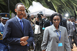 Rwandan President Paul Kagame with his chief of protocol, Rose Kabuye. She was arrested in Germany and had been extradited to France in connection with the 1994 civil war. by Pan-African News Wire File Photos