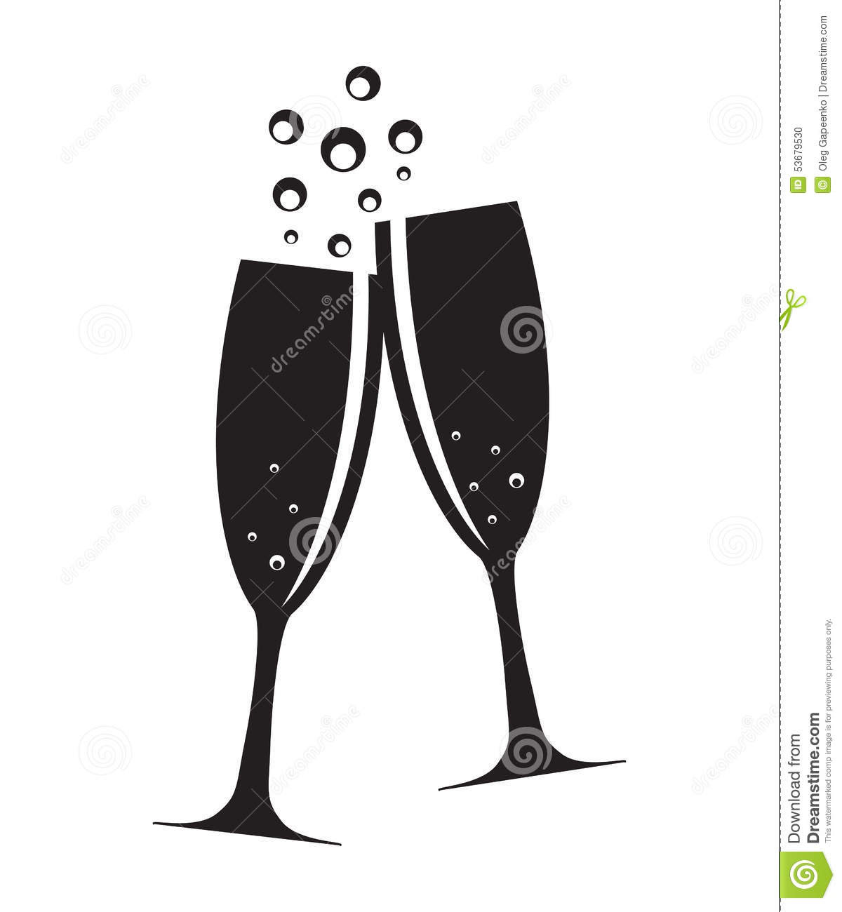 two glasses champagne silhouette vector illustration 53679530