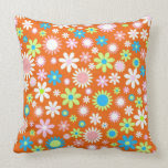 Orange Flower Power Throw Pillows