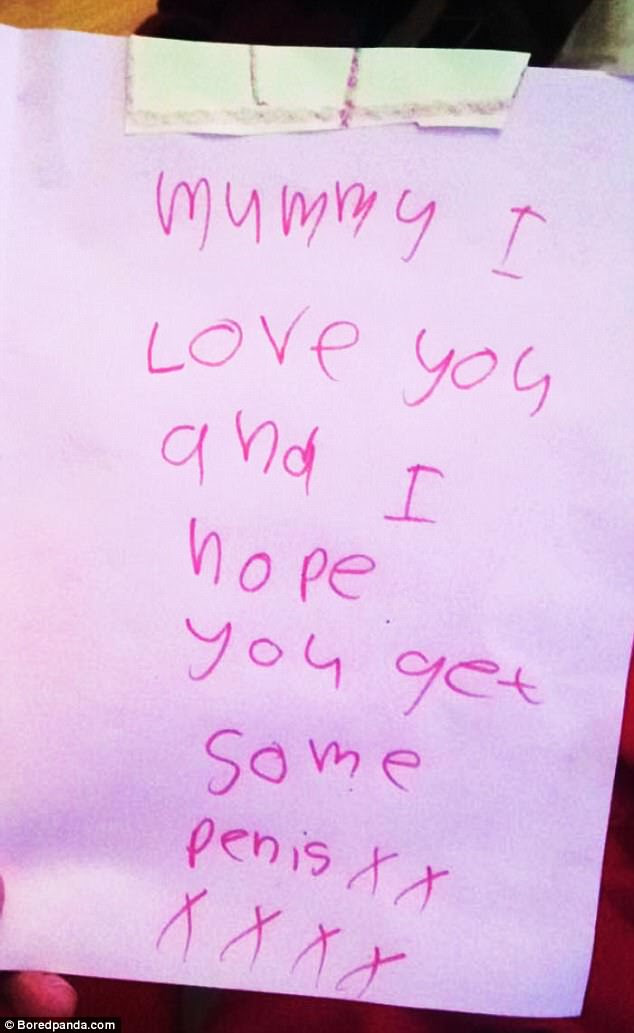 This mother was rather taken aback by their child's extremely inappropriate card