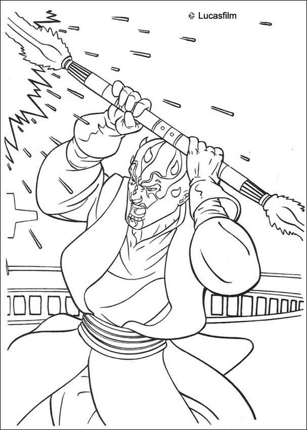 Darth Maul With A Laser Sword Coloring Pages Hellokidscom