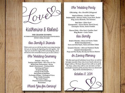 "DIY Wedding Program Template   Eggplant Purple ""Love"