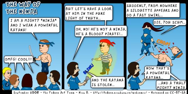 [fedora webcomic: the way of the ninja]
