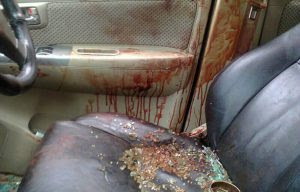 The bloody interior of a vehicle in which the pastor was allegedly stabbed while having sex with his girlfriend