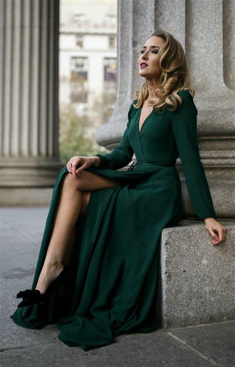 Emerald green long sleeve floor length wrap dress, black