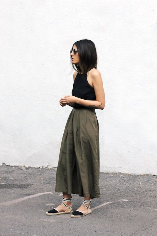 Le Fashion Blog Blogger Style Black Tank Top Olive Green Culottes Lace Up Espadrilles Via Blog And The City