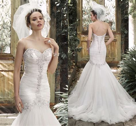 Bling 2015 Mermaid Beaded Wedding Dresses Bridal Gowns