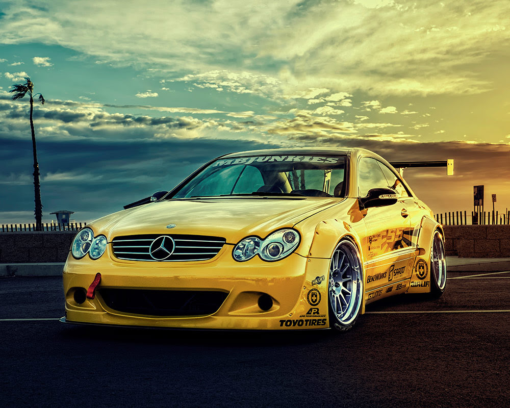Yellow 2005 Mercedes CLK55 AMG Pops While on Display in ...