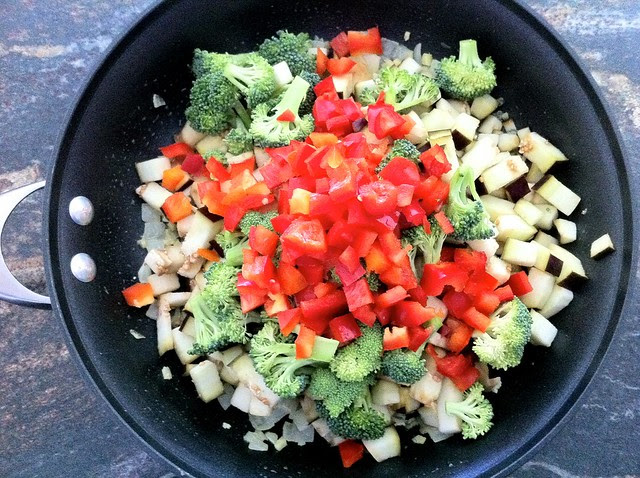 Broccoli and Red Bell Pepper Added to Pan