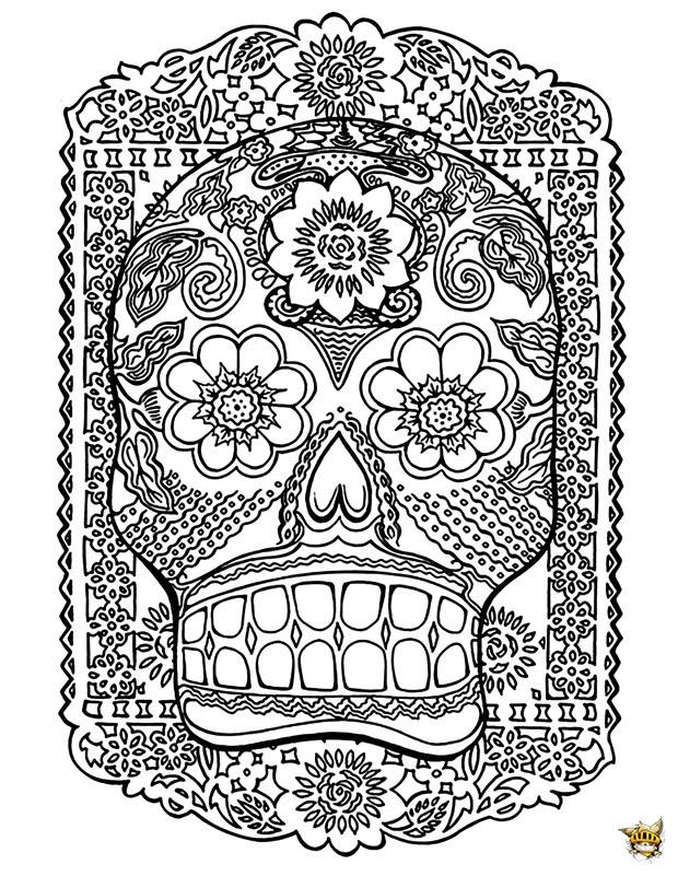 Tête De Mort Est Un Coloriage Pour Adultes à Imprimer