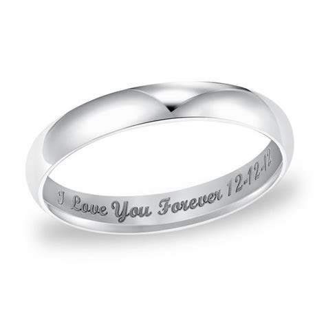 Ladies' 3.0mm Engraved Low Dome Wedding Band in 14K White