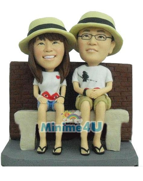 Couple with Straw hat anniversary gift   Mini me dolls