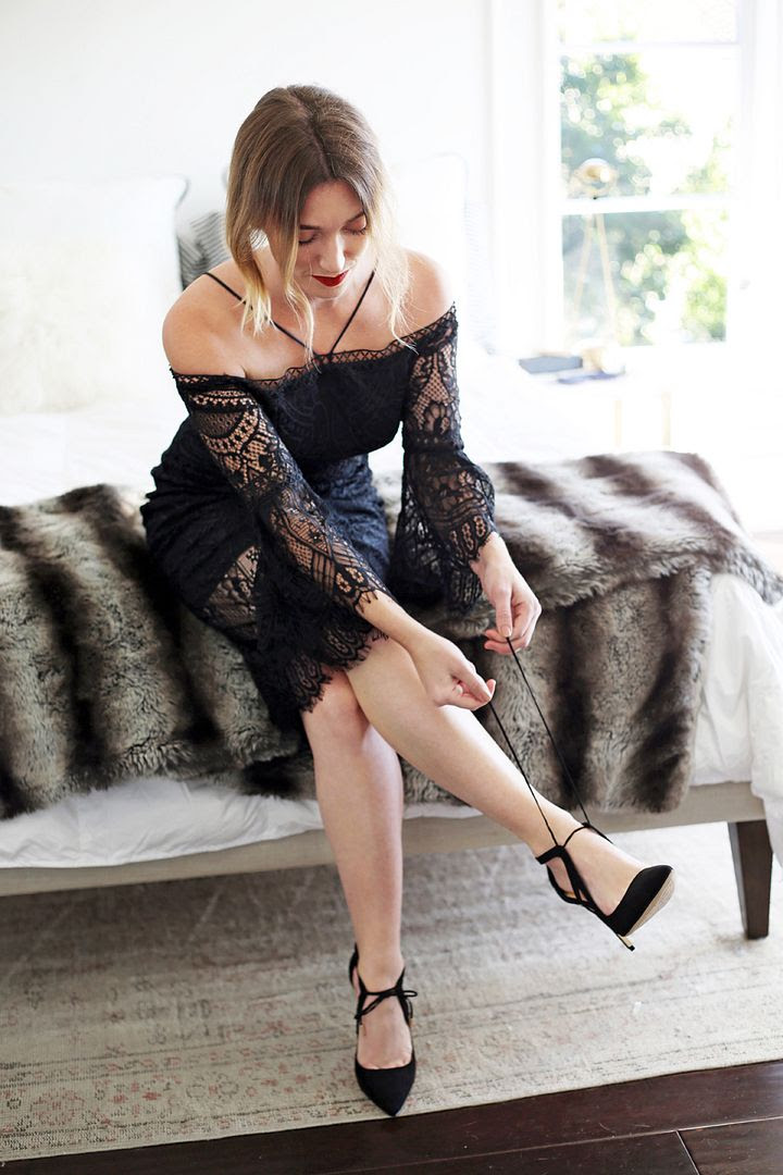 New Years Eve Outfit Ideas KLab Off The Shoulder Black Lace Dress Kohls Zendaya Suede Tie Black Pumps Photographer Erin Pederson Model Katie Wohlers Styling Jenn Camp Le Fashion Blog