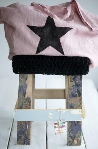 wood & big black wool stool by wood & wool stool