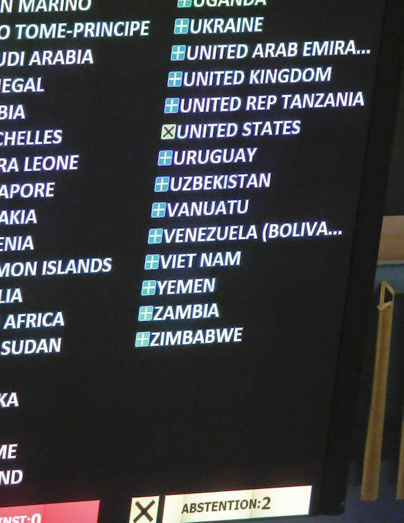 An electronic display monitor carries the vote of member states during a meeting of the U.N. General Assembly, Wednesday Oct. 26, 2016 at U.N. headquarters. The United States has abstained for the first time in 25 years on a U.N. resolution condemning America's economic embargo against Cuba, a measure it had always vehemently opposed. (AP Photo/Bebeto Matthews)