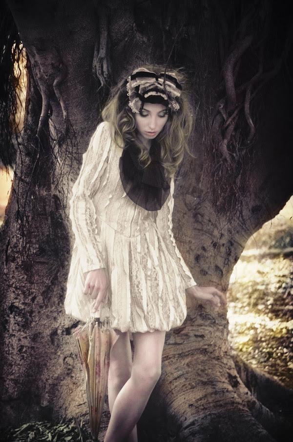 Umbrella & tree, Alice's Dreamtime; Winter Fashion Editorial