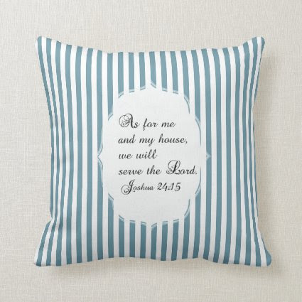 Scuba Blue White Joshua 24:15 Bible Verse Pillow