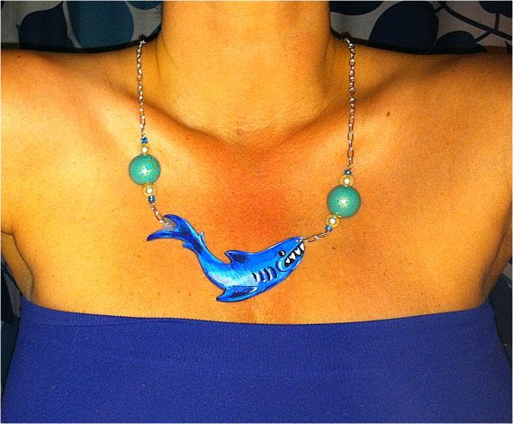 EVERYTHING IN THE SHOP $10!!!!!  Tattoo style shark flash necklace beaded by paintedgreenchair, $10.00