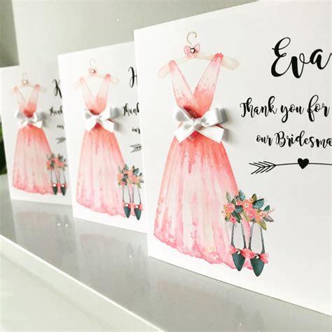 Pink Bridesmaid Dress Thank you Card   Amor Designs