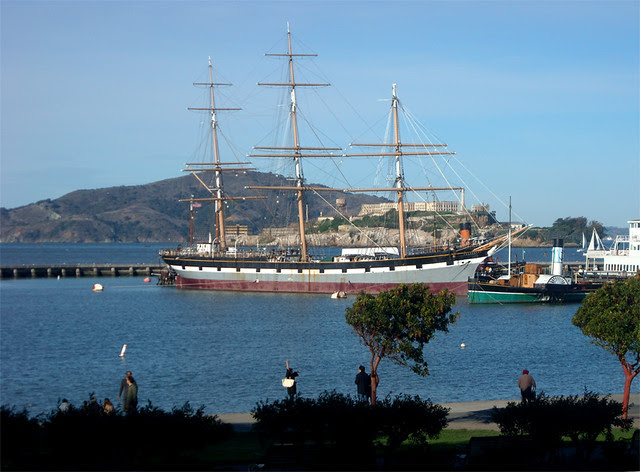 photo - Balclutha, Alcatraz & Angel Island, viewed from Aquatic Park
