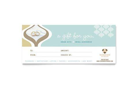 Wedding Store & Supplies Gift Certificate Template Design