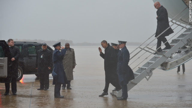 Obama steps off Air Force One on Monday after arriving at Andrews Air Force Base.