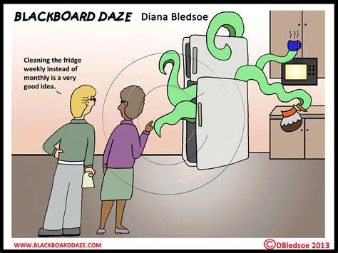 funny cartoon   dirty fridge blackboard daze