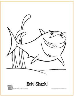 eek shark  free printable coloring page