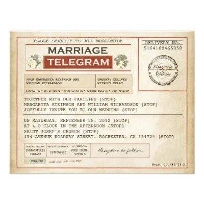 Vintage Telegram Wedding Invitation