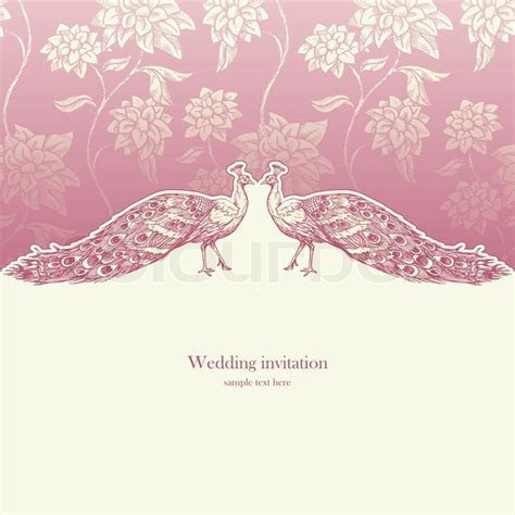 Vintage wedding invitation card,     Stock vector