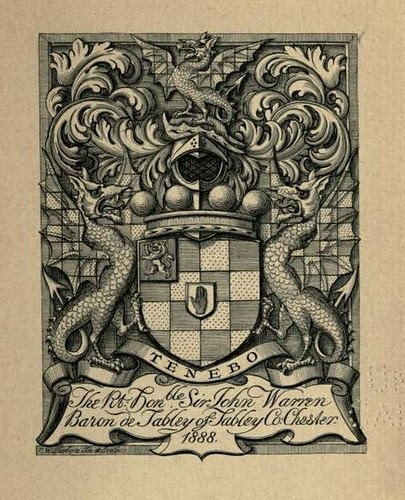 Bookplate of the Right Hon John Warren Baron de Tabley of Tabley Co Chester engraved by C W Sherborn and dated 1888 by CharmaineZoe