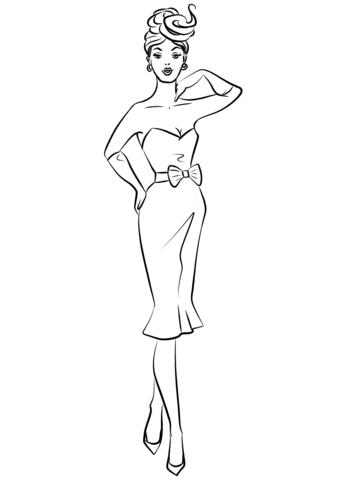 Dibujo De Mujer De 1950 En Vestido De Coctail Para Colorear