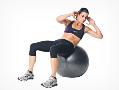 5. Ball cross-over sit-ups