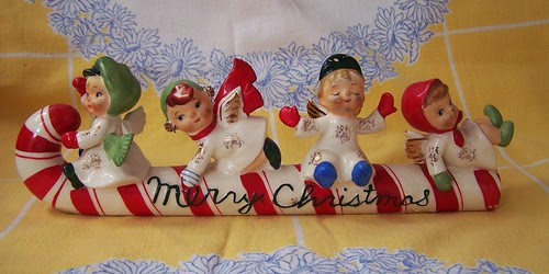 Vintage Lefton Merry Christmas Candy Cane With Angels
