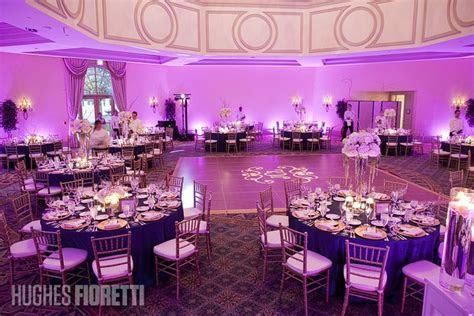 navy blue  pink wedding reception blue tables purple