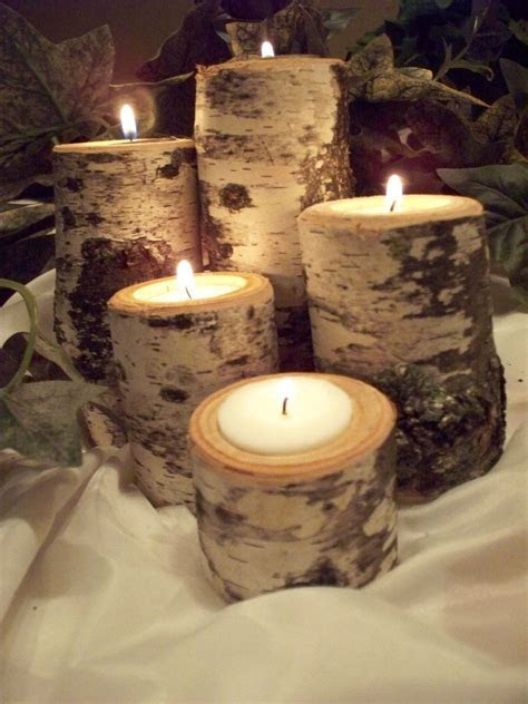 Birch Tea light candle holder Set of Five, Rustic Natural