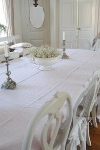 all-white table