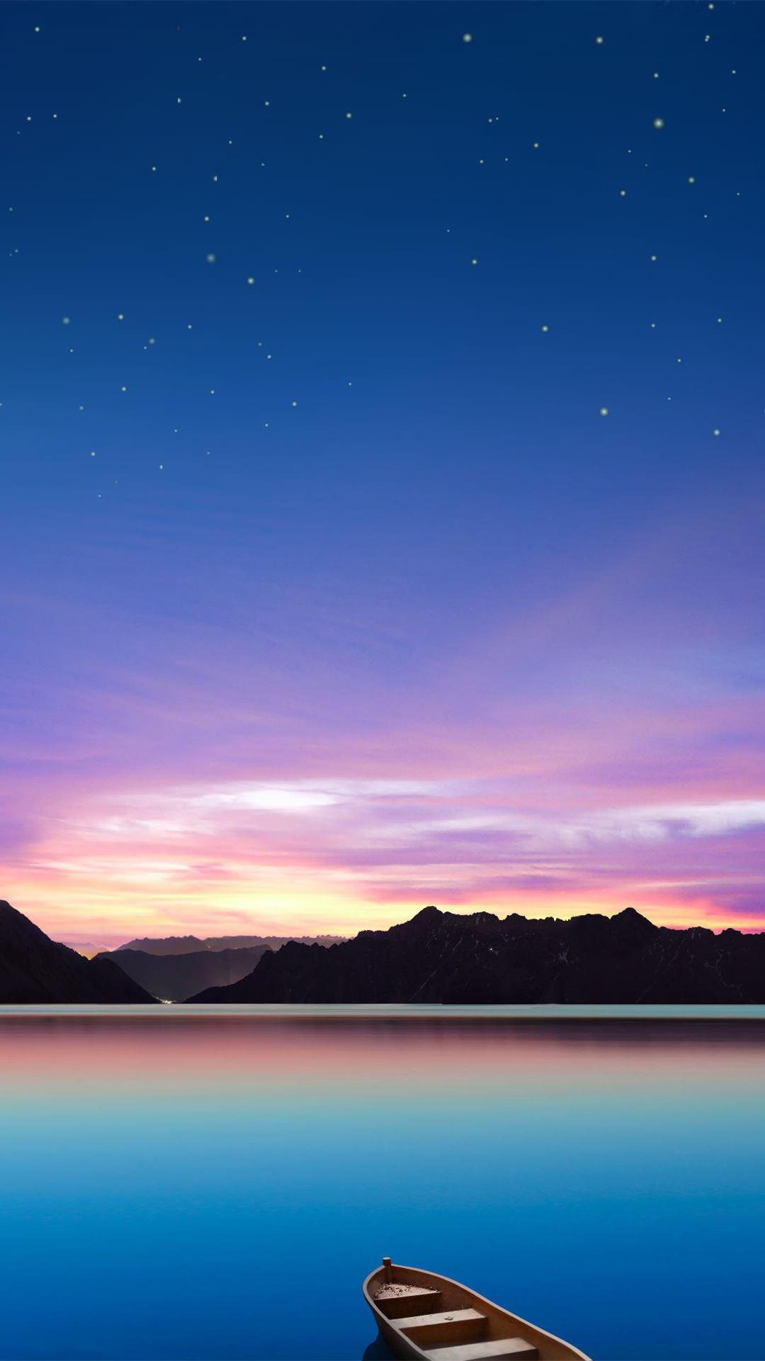 湖に浮かぶボートと星空 Iphone6 Plus 壁紙 Wallpaperbox