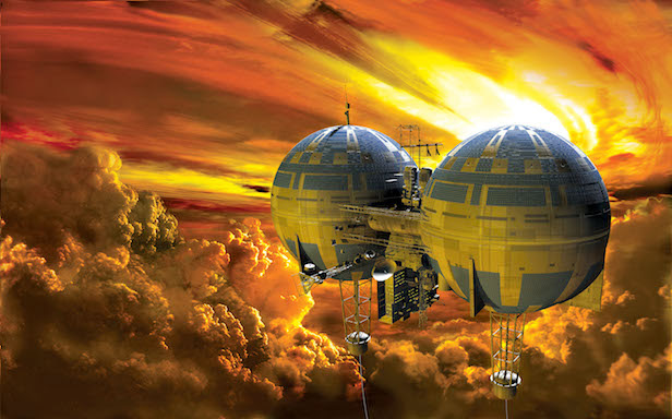 An artist's impression of a floating city in the atmosphere of Venus.