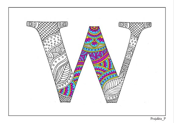 Adult coloring pages zentangle alphabet W by DifferentStrokesArts