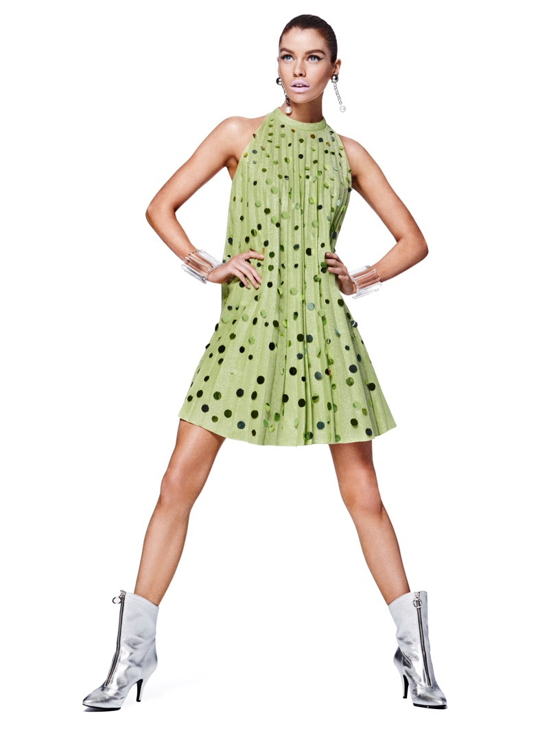 Stella Maxwell models Jeremy Scott dress