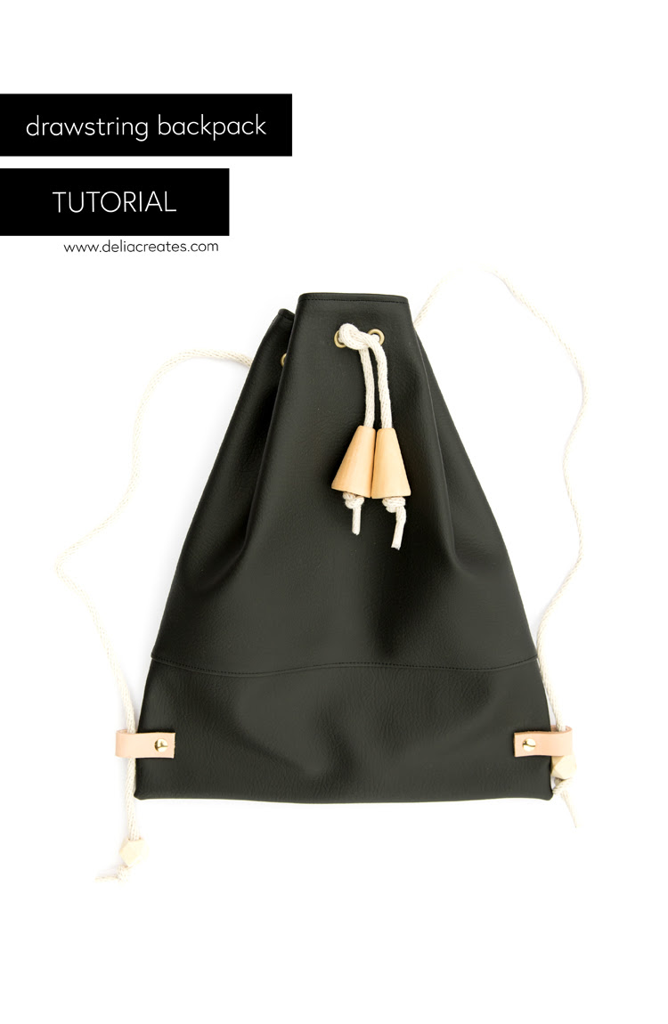Faux Leather Drawstring Backpack Tutorial