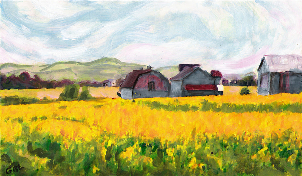Original Fine Art Digital Springtime Fields Farm Maryland. $18 to $24, medium-size prints. Free downloads, wallpaper. An original mixed media and oil painting, a landscape, yellow, near Frederick, Maryland, in a style somewhat reminiscent of Van Gogh, some years ago, in the 1970s. ‬‎GrlFineArt. Fine art work, fine art decor, ‪‎fineart; landscapes, seascapes, boats, figures, nudes, figurative art, flowers, still life, digital abstracts. Multimedia classical traditional modern acrylic oil ‪‎painting‬ ‪‎painting‬s prints.