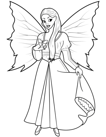 Fairy with Butterfly coloring page | Free Printable ...