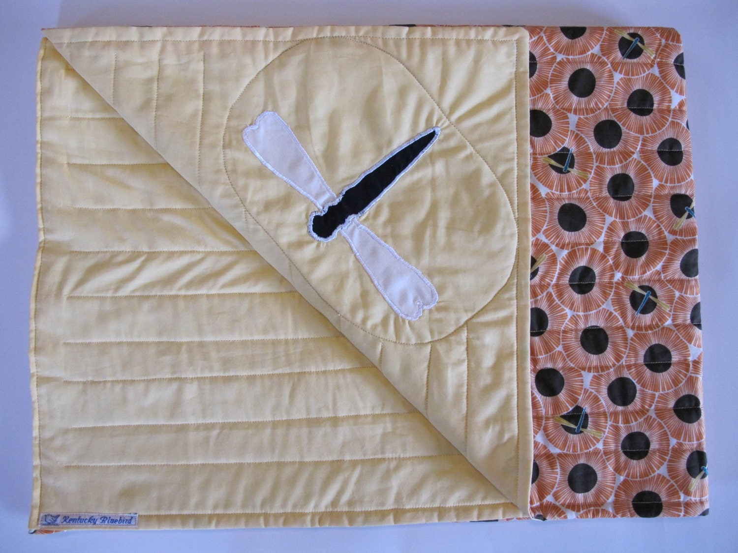 SALE Dragonfly Baby/Child Quilted Blanket- 100 Percent Organic