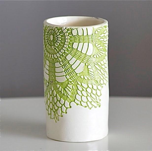 Green Kitschy Vase, Handmade