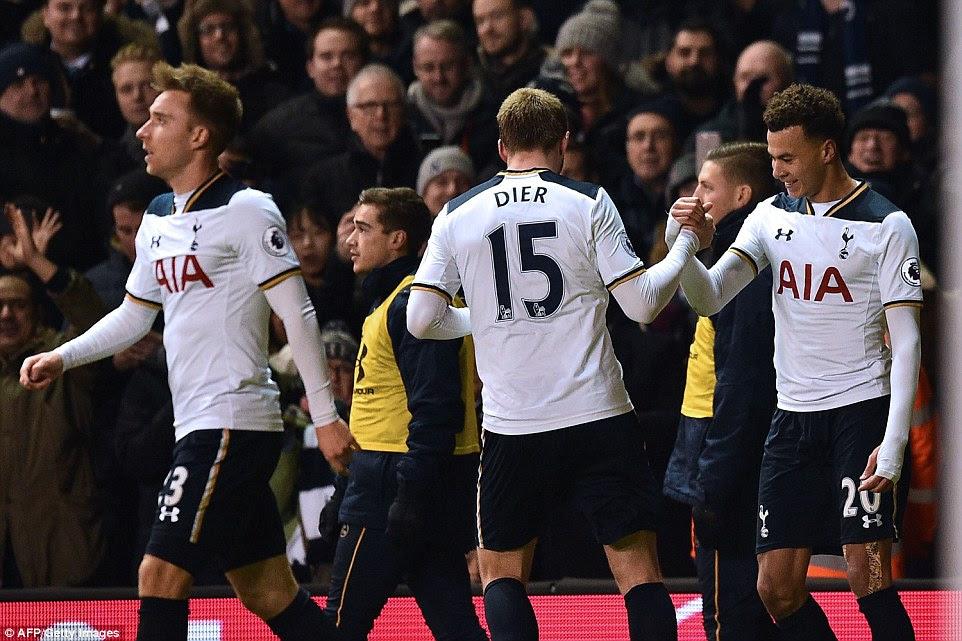 Tottenham team-mate and close friend Eric Dier congratulates the man of the moment as the Tottenham fans celebrate