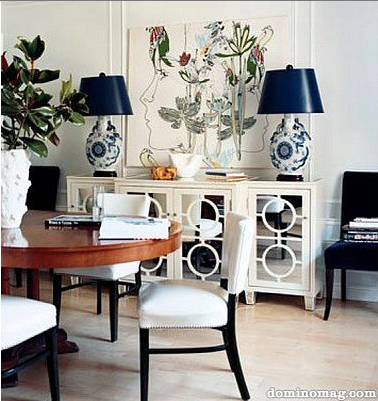 eliware: Melanie Acevedo Photography  eclectic dining vignette. white mirrored buffet cabinet, ...