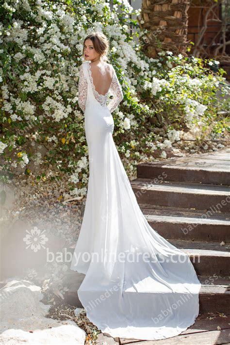 Lace Wedding Dresses Long Sleeves Sheer Backless V neck