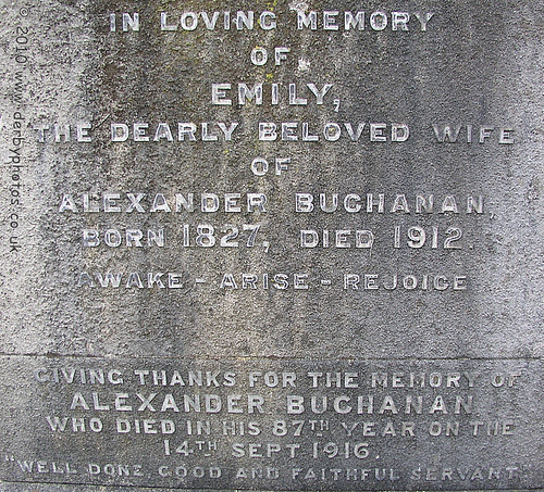 The grave of Alexander Buchanan (Nephew of Andrew Handyside)